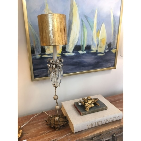 Gold and Crystal Buffet Accent Small Table Lamp Lucas McKearn