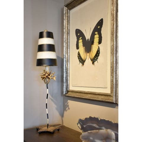 Whimsical Buffet Table Lamp By Lucas McKearn with neutral Stripes