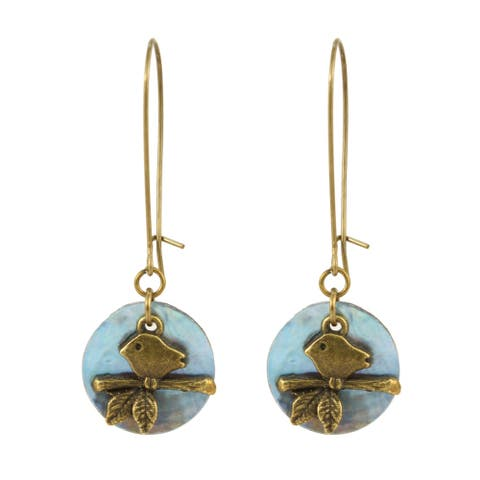 Handmade Bird in Moonlight Brass Earrings