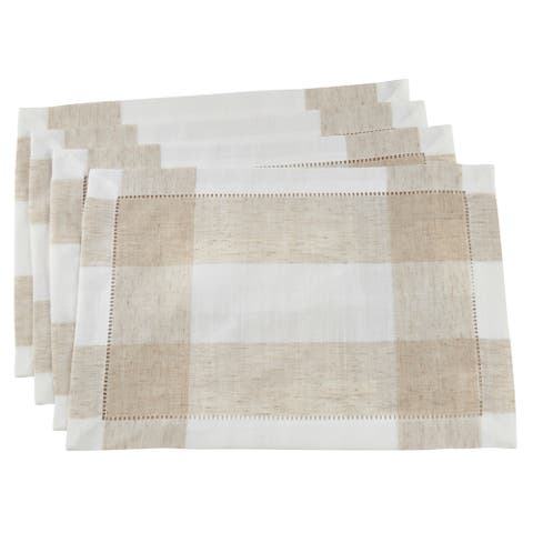 Saro Lifestyle Ivory Hemstitch Table Mats with Two-Tone Design (Set of 4)