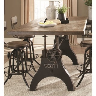 Retro Industrial Cast Iron Milling Machine-inspired Adjustable-height Dining Table
