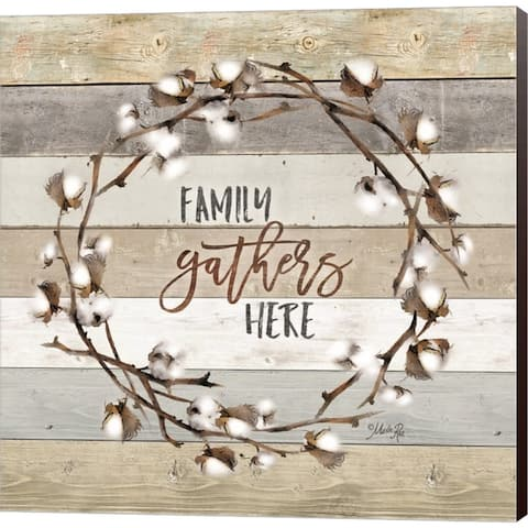 Marla Rae 'Family Gathers Here Cotton Wreath' Canvas Art