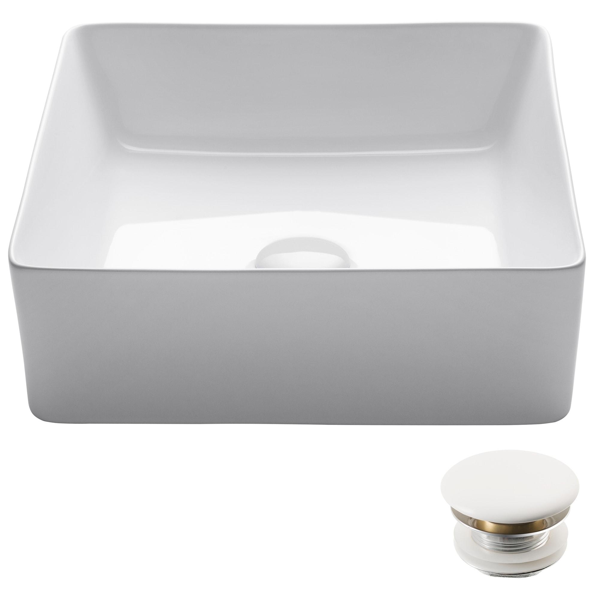 Kraus Kcv 202gwh Viva Square White Porcelain Ceramic Vessel Bathroom Sink Pop Up Drain