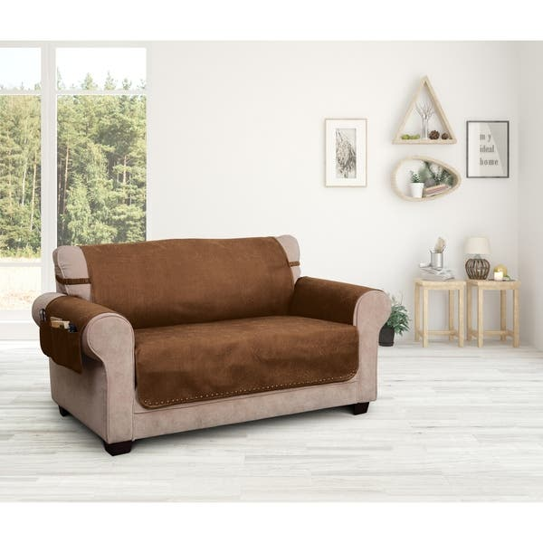 Superb Shop Faux Leather Solid Loveseat Furniture Cover Slipcover Machost Co Dining Chair Design Ideas Machostcouk