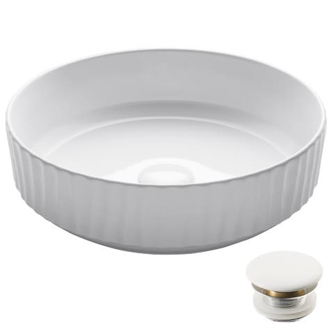 KRAUS KCV-201GWH Viva Round White Porcelain Ceramic Vessel Bathroom Sink, Pop-Up Drain