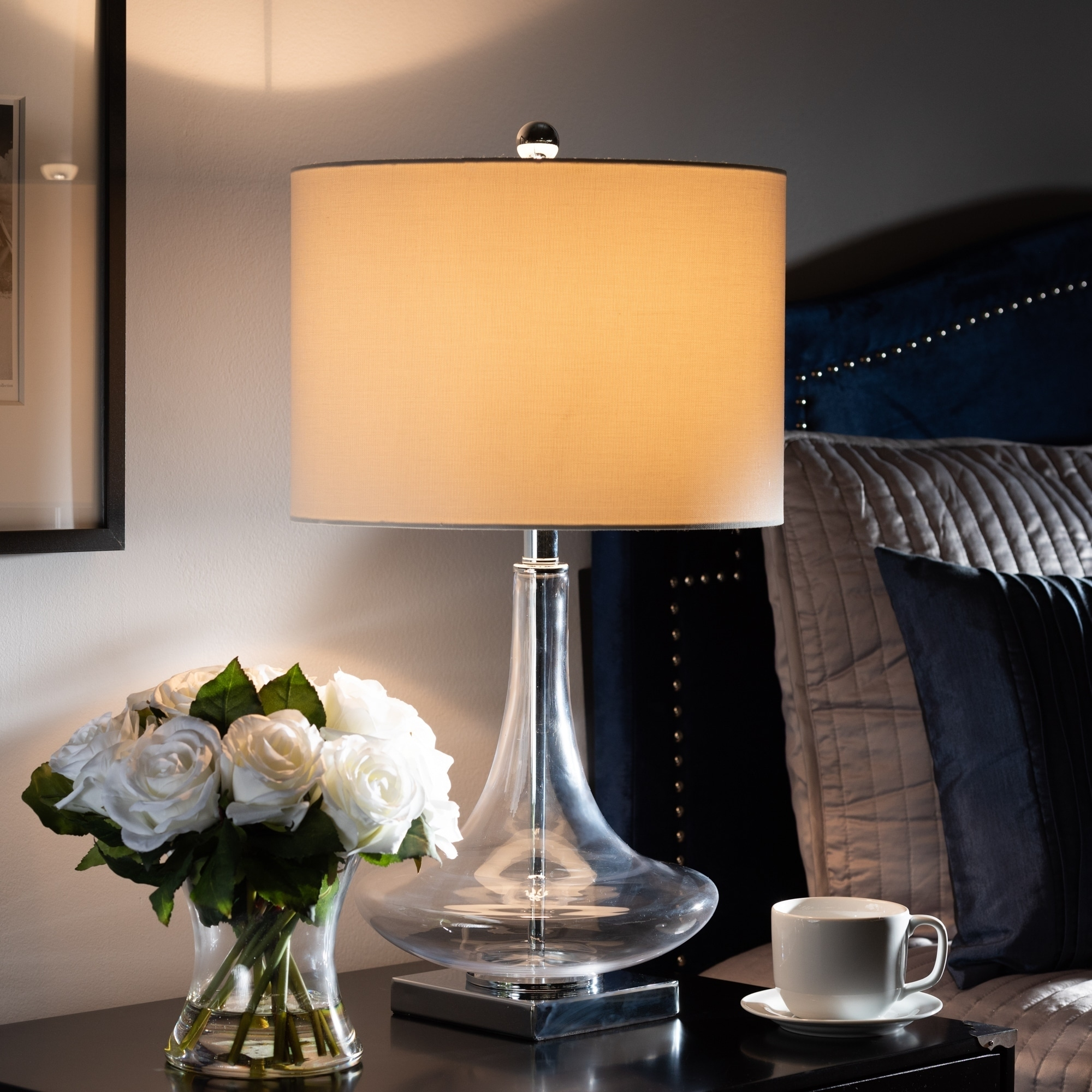 Shop Black Friday Deals On Contemporary Clear Glass And Silver Metal Teardrop Table Lamp Overstock 27551991