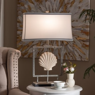 Contemporary Antique Silver Metal Framed Seashell Table Lamp