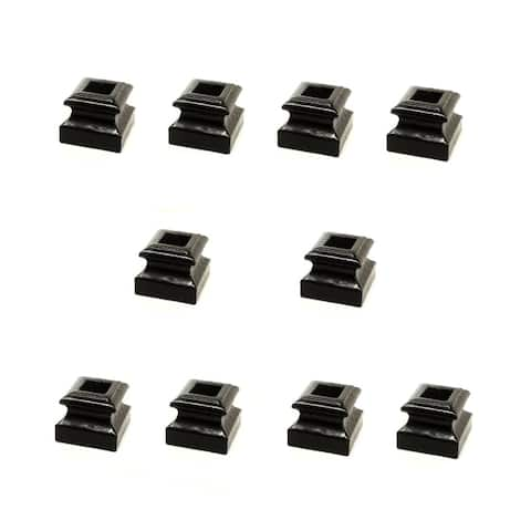 "ALEKO Black Shoe for 1/2"" Square Stair Balusters Lot of 10"