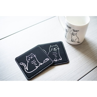 Set of 6 Funny Cat Coasters - Cute Cat Coasters / Engraved Coasters