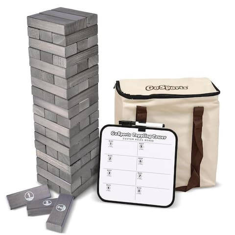 GoSports Large Gray Stain Toppling Tower with Bonus Rules Starts at 1.5' and grows to over 3' Premium Gray Stained Blocks