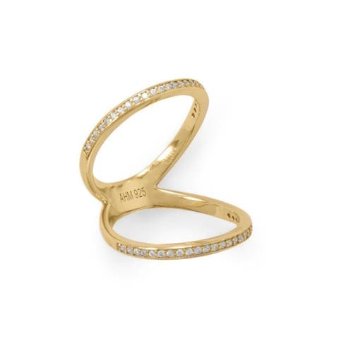 0.2ctw CZ Sterling Silver Double Band Knuckle Ring, Gold Plating, 2mm