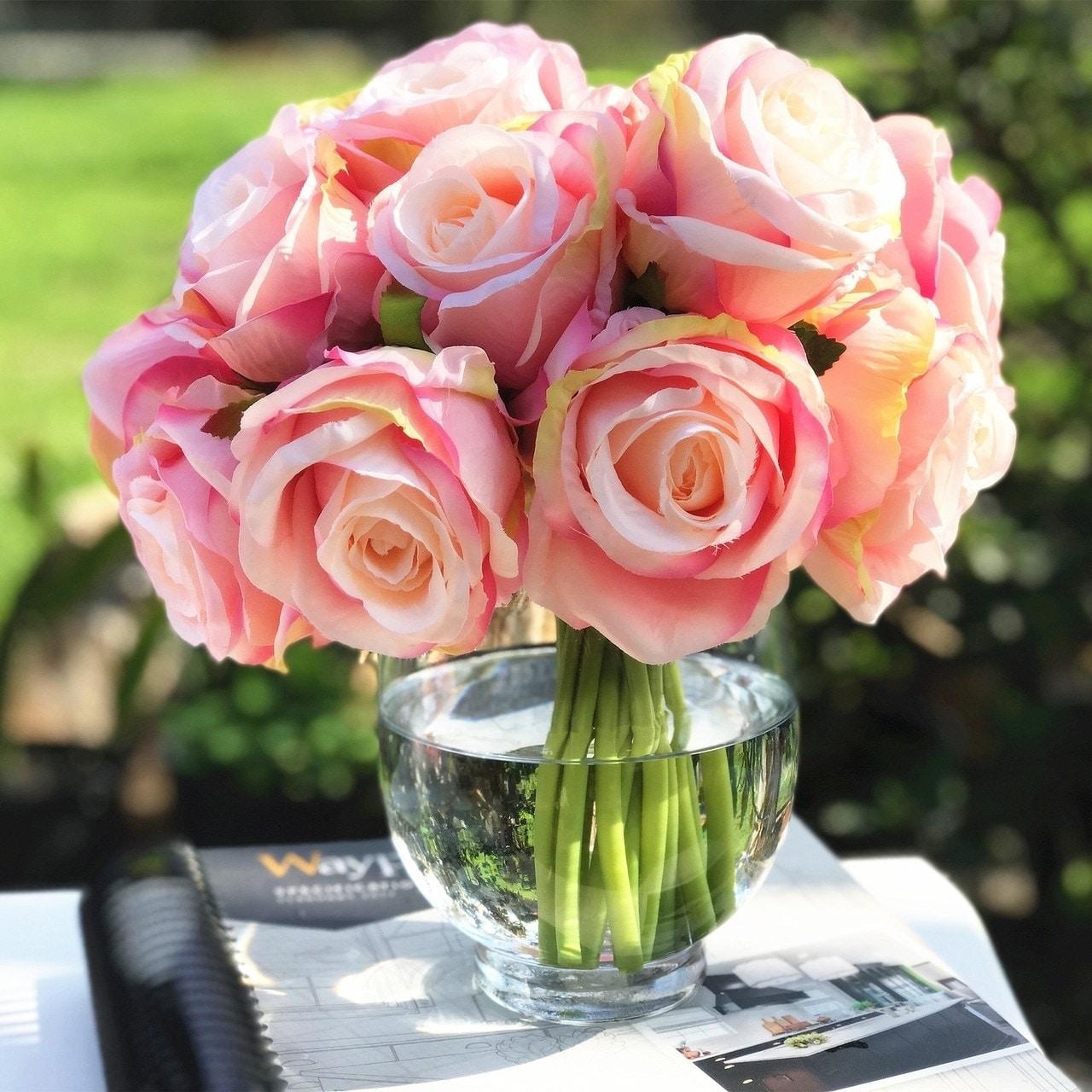 Enova Home Pink Artificial Silk Open Rose Flower Arrangements With Glass Vase Overstock 27552478