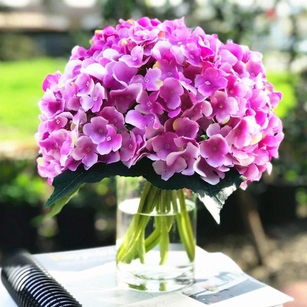 Enova Home Lavender Purple Artificial Hydrangea Flower Arrangements with Clear Glass Vase