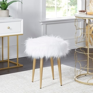 Link to Marilyn Round Faux Fur Stool Similar Items in Living Room Furniture