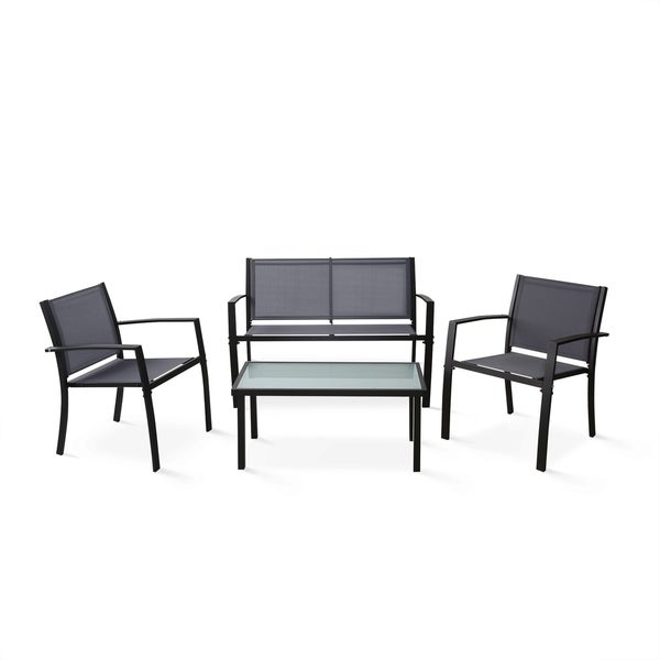 Havenside Home Fox Bay Outdoor Patio Leisure Dining Set, Grey/Black