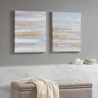Madison Park 'SeaFoam Aurora Multi' Heavily-textured Gold Foil 2-piece Canvas Art