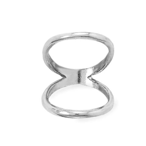 Sterling Silver Double Band Knuckle Ring in Rhodium Plating, 2mm