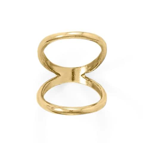 Sterling Silver Double Band Knuckle Ring in Yellow Gold Plating, 2mm