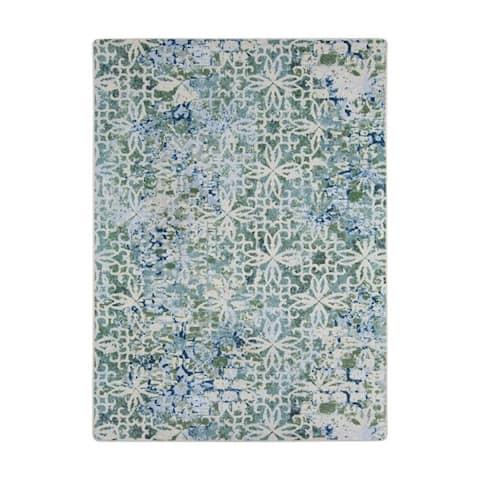"Joy Carpets Composite Nylon Sea Green Rectangular Area Rug - 3'10"" x 5'4"" - 3'10"" x 5'4"""