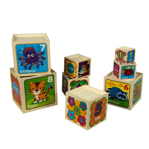 Nesting and Stacking Wooden Blocks