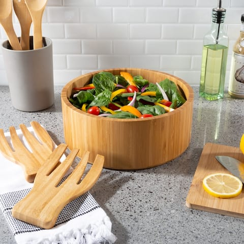 10.25-Inch Bamboo Salad Bowl with Utensils- Modern Round Wood Dinnerware Eco-Friendly and Bacteria Resistant by Classic Cuisine