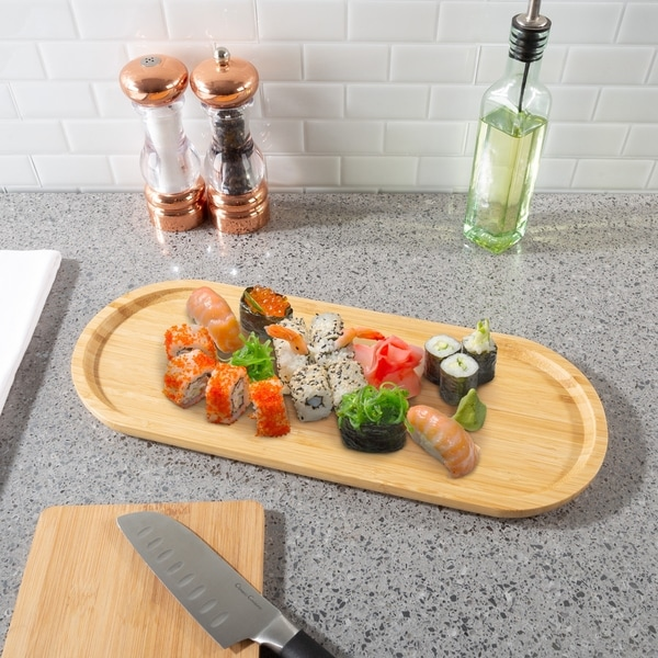 Classic Cuisine Natural Finish Bamboo Wood Oval Serving Tray