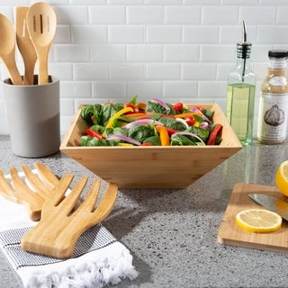 11-Inch Bamboo Salad Bowl with Utensils- Modern Square Wood Dinnerware Eco-Friendly and Bacteria Resistant by Classic Cuisine