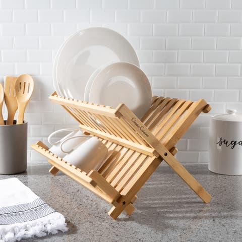 Classic Cuisine Natural Bamboo Kitchen Essentials Countertop Folding Dish Drainer Dryer Rack