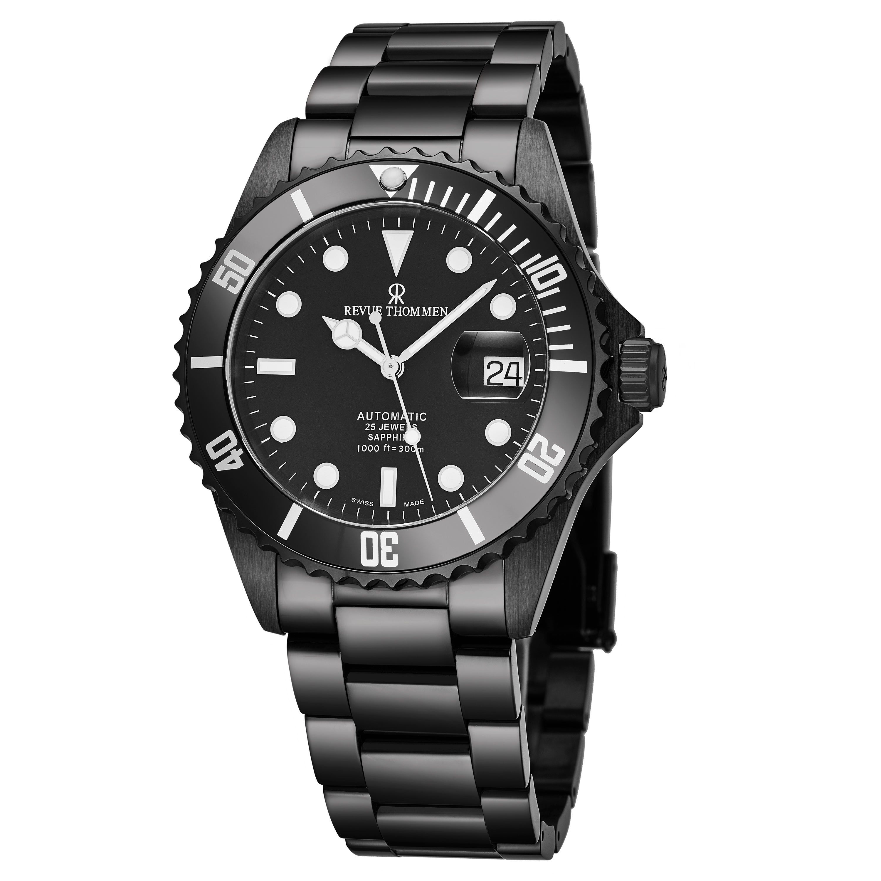 Revue Thommen Men S 17571 2177 Diver Black Dial Black Stainless Steel Swiss Automatic Watch