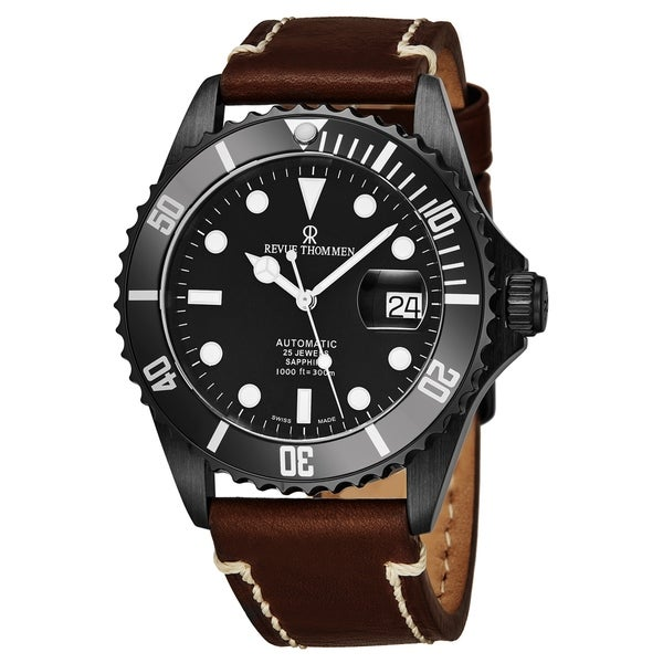 Revue Thommen Men's 17572.2577 'Diver' Black Dial Brown Leather Strap Swiss Automatic Watch. Opens flyout.