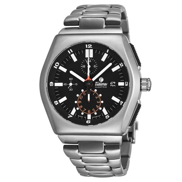 Tutima Men's 6450-03 'M2' Black Dial Titanium Bracelet Chronograph German Mechanical Automatic Watch. Opens flyout.
