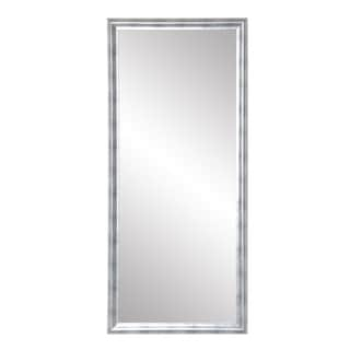 Modern Brushed Silver Leaning Floor Mirror