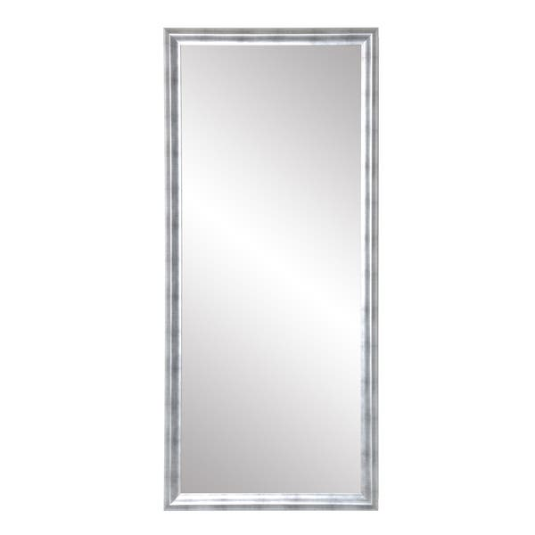 Shop Modern Brushed Silver Leaning Floor Mirror Overstock 27555227