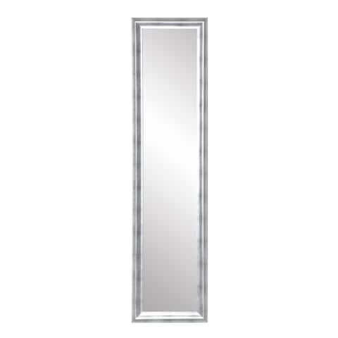 Modern Brushed Silver Slim Full Length Mirror