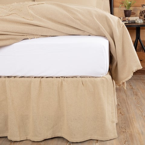 Farmhouse Bedding Veranda Burlap Tan Bed Skirt Cotton Solid Color Distressed Appearance Cotton Burlap