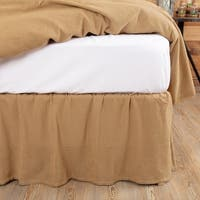 Farmhouse Bedding Veranda Burlap Tan Bed Skirt Cotton Solid Color Distressed Appearance Cotton Burlap