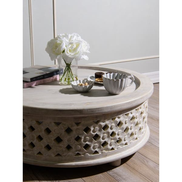 Shop Aurora Home Rustic White Wood Coffee Table On Sale Free