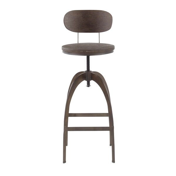 Carbon Loft Goddard Industrial Metal and Wood Mid-back Bar Stool