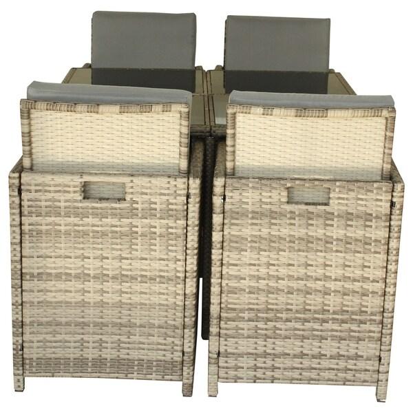 LuxuryLivingFurniture Outdoor Polyurethane Rattan Dining Set with Cushions, 9-Piece Gray