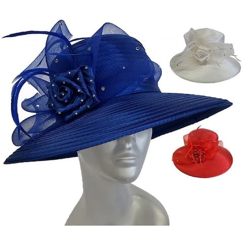 ca774e7e55751 Satin Ribbon Rhinestone Dressy Kentucky Derby Church Hat