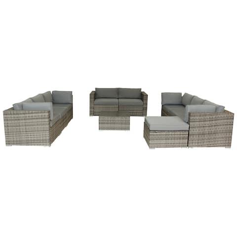 LuxuryLivingFurniture Outdoor Polyurethane Rattan Lounge Set with Cushions, 10-Piece in Gray
