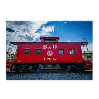 Noir Gallery Jon Bilous 'B&O Caboose' Railroad Train Red Caboose Aluminum Metal Wall Art Print