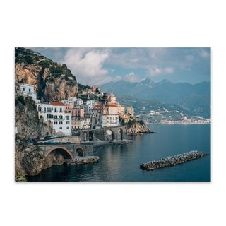 Jon Bilous 'Amalfi Coastal 01' Noir Gallery Amalfi Coast Italy Photography Metal Wall Art Print