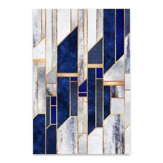 Noir Gallery Blue Digital Abstract Geometric Metal Wall Art Print