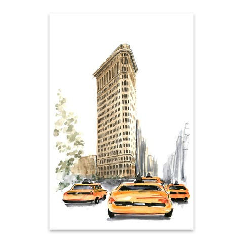 Noir Gallery NYC Flatiron Taxi Watercolor Metal Wall Art Print