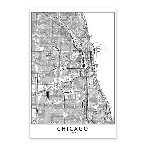 image relating to Printable Maps of Chicago identify Noir Gallery Chicago Black White Town Map Steel Wall Artwork Print