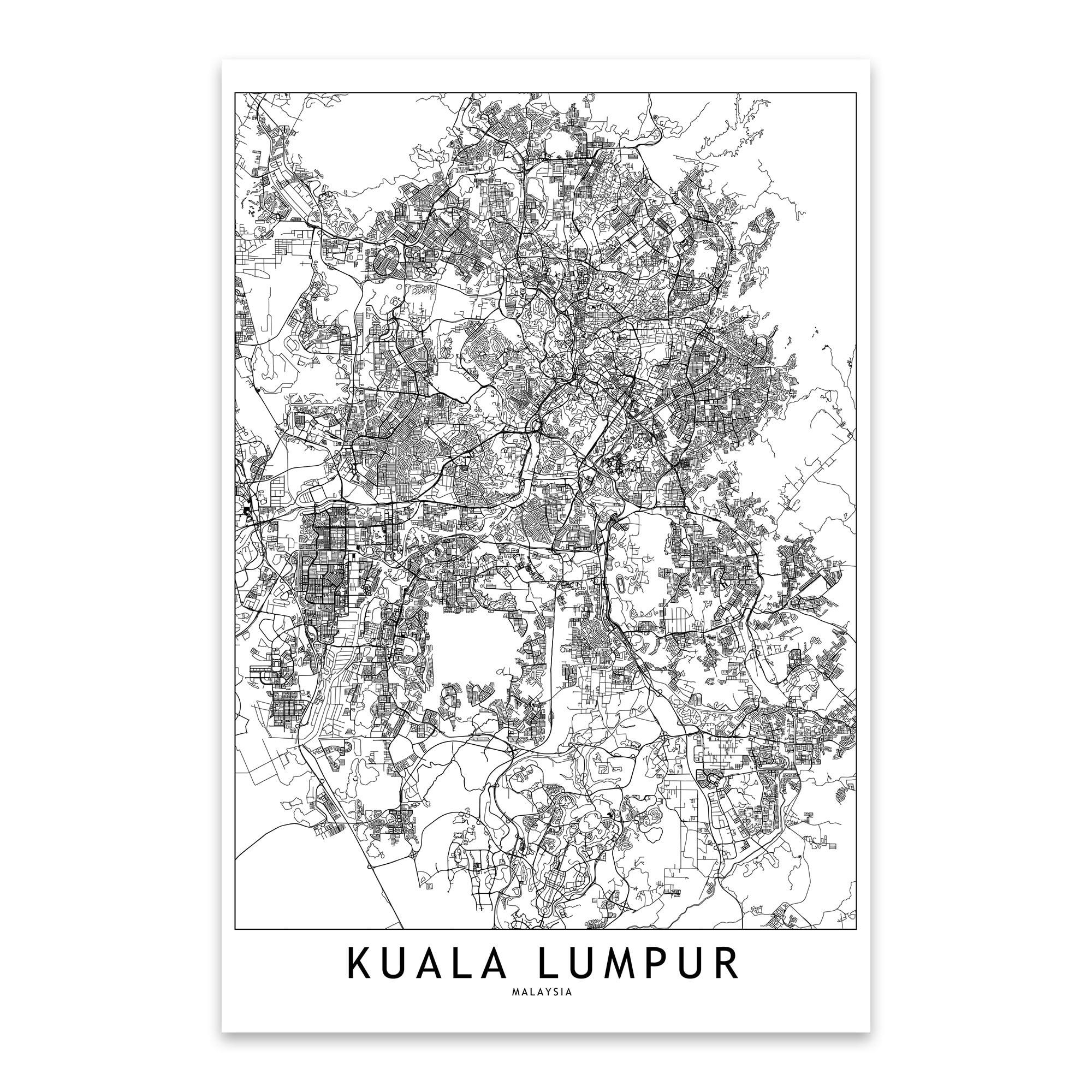 Noir Gallery Kuala Lumpur White Map Metal Wall Art Print
