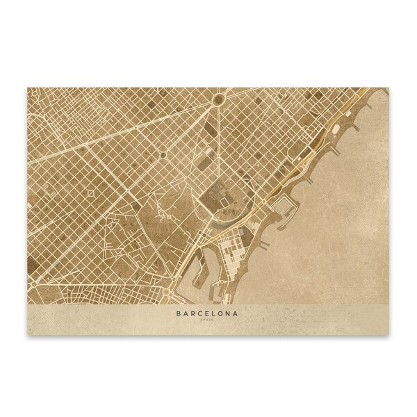 Map Of Spain For Printing.Blursbyai Barcelona Spain Sepia City Map Metal Wall Art Print