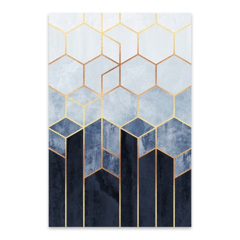 Noir Gallery Elisabeth Fredriksson 'Soft Blue Hexagons' Abstract Art Deco Geometric Blue Metal Wall Art Print