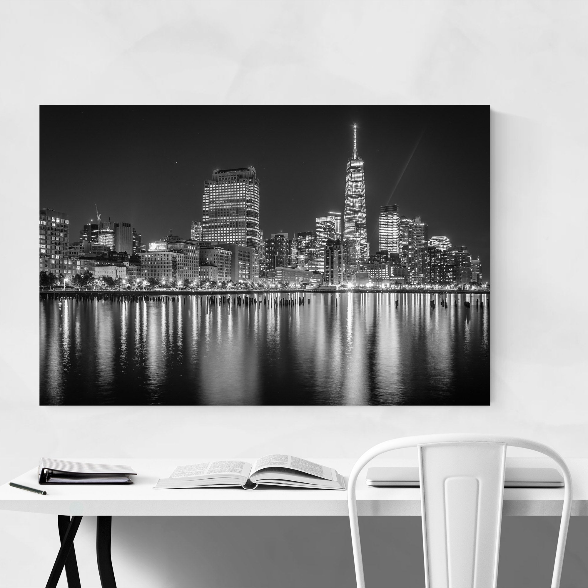 Noir gallery black white new york skyline nyc metal wall art print